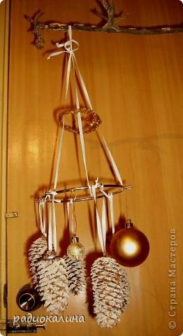 Вот такой  новогодний модуль придумался в ожидании Нового Года. Из шишек сделала заснеженные при помощи манки, а прикрепила шишки и шарики на старый обруч от лампы.
