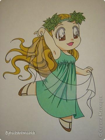 Моя сестра Antoine любит рисовать мангу и малышек чиби. Эти рисунки выполнены фломастерами. фото 4