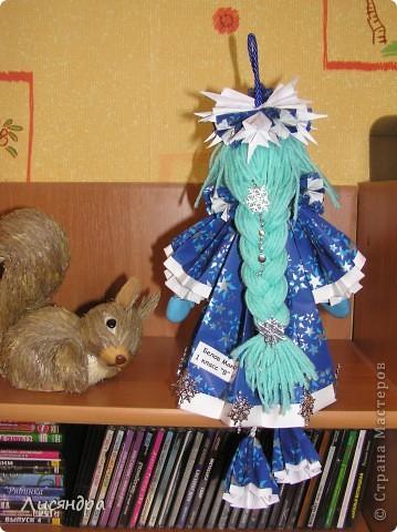 Снегурочка - подвеска на ёлку. может стоять, а может и висеть. Высота куколки включая петлю и ножки - почти 40 см. фото 2