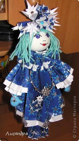 Снегурочка - подвеска на ёлку. может стоять, а может и висеть. Высота куколки включая петлю и ножки - почти 40 см. фото 4