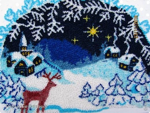 Соскучилась по торцеванию. А сейчас как раз такая благодатная тема - Рождество и Новый год. Ну как можно обойти эту тему? Такую картинку подсмотрела в вышивках. Размер работы 20*30 см.  фото 2