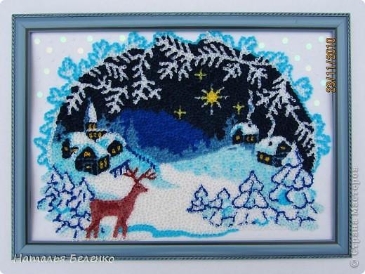 Соскучилась по торцеванию. А сейчас как раз такая благодатная тема - Рождество и Новый год. Ну как можно обойти эту тему? Такую картинку подсмотрела в вышивках. Размер работы 20*30 см.  фото 7