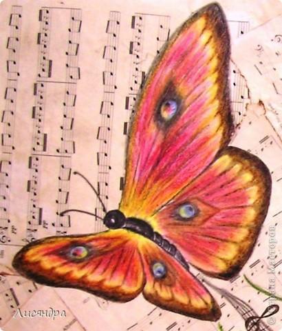 """Эти бабочки были сделаны для осеннего школьного конкурса """"Бабочки - порхающие цветы"""". Пришла идея, чтобы бабочки порхали не над цветами/полянками (как у всех), а над нотами. Получилась """"Музыка порхающих бабочек"""" и 1 место в конкурсе. фото 2"""