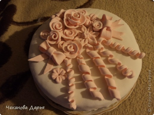 Торт с мастикой из маршмеллоу  делала впервые! но впечатлений море! фото 1