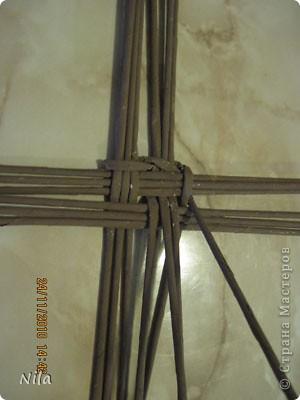 Для   tava13  выкладываю мини МК по плетению дна для подноса . Может кому-то еше пригодится. Для плотного плетения или большой корзинки плету 3 х3 фото 6