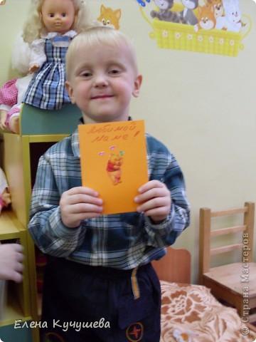 """Скоро праздник """"День Матери"""" мы с малышами сделали простые открыточки.  фото 3"""