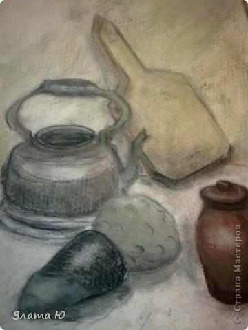 Натюрморт: чайник,баклажан,тыква,доска и крынка.