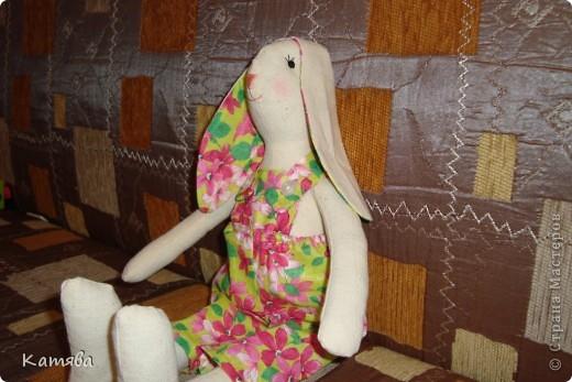 Ну что тут рассказывать, отправила дочу к бабушке, а сама давай шить, итог - 5 часов работы и я счастливая обладательница зайца (кролика, кому как)-тильды. Процесс шел на ура, удовольствий масса, а когда одела панаму, то чуть не разревелась. Все же как хочется вернуть детство...Ну ничего буду с дочей играть и вспоминать счастливые годы беззаботной жизни. фото 4