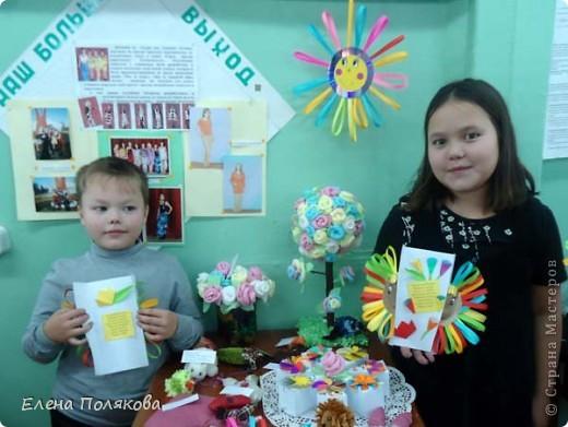 Так понравилась идея с солнышками на дисках Надежды Каликовой, что я решила ее немного переработать и сделать с детьми такие открытки ко Дню Матери. фото 9