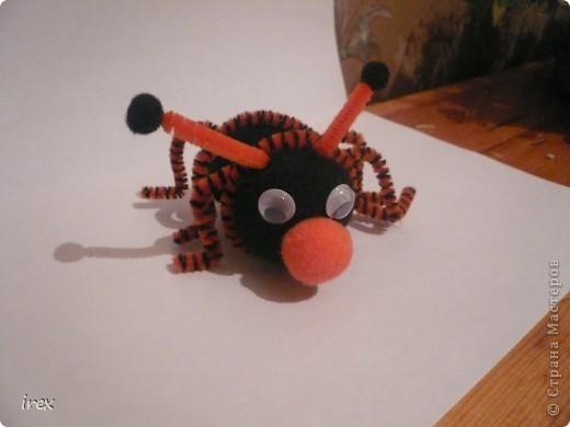 Решили с дочкой, ей 4 года, сделать жука с крылышками, но на крылышки терпения не хватило, и получился то ли жук, то ли паук фото 2