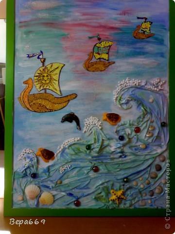 Панно было сделано по МК Марины Архиповой. Очень хороший и понятный мастер-класс. Огромное ей СПАСИБО! Панно висит в раздевалке группы, в которой я работаю, в детском саду. Размер 70 на 50см. фото 1