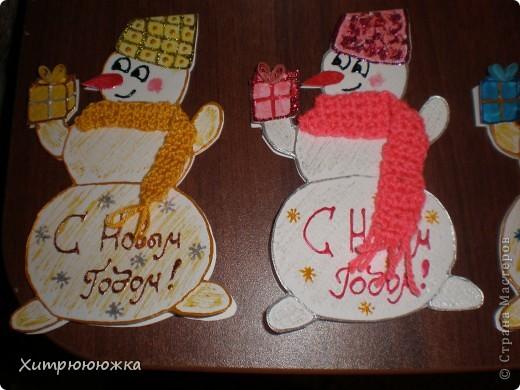Вот и я начала готовиться к новому году))) Всего 6 открыток-снеговичков) все разные и в каждого вложена душа =) фото 3