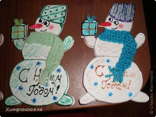Вот и я начала готовиться к новому году))) Всего 6 открыток-снеговичков) все разные и в каждого вложена душа =) фото 5