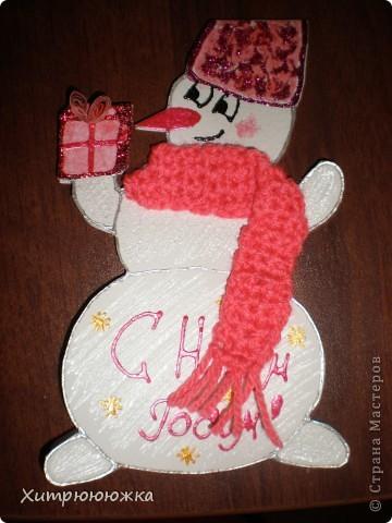 Вот и я начала готовиться к новому году))) Всего 6 открыток-снеговичков) все разные и в каждого вложена душа =) фото 1