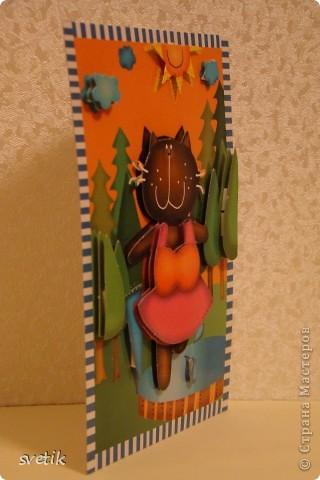 Такую 3 D открытку  сделала моя дочка. Набор для детского творчества. фото 2