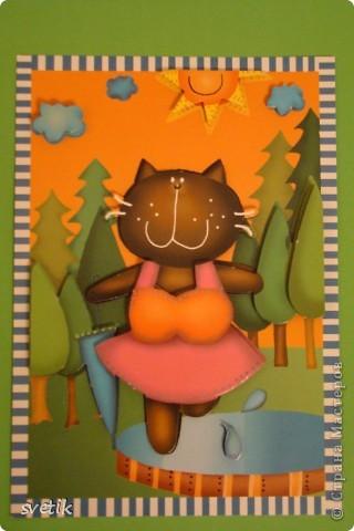 Такую 3 D открытку  сделала моя дочка. Набор для детского творчества. фото 1