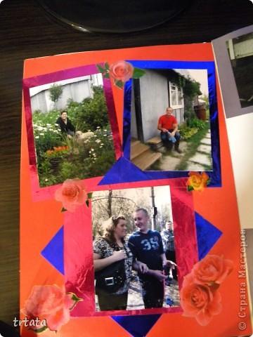 Это титульный лист фотооальбома,  испольованы цветной картон и бархатная цветная бумага! фото 3