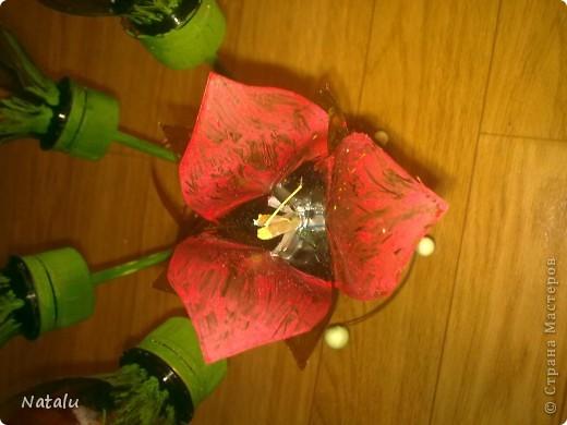 Букет и вазочка сделаны из пластиковых бутылок. фото 2