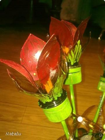 Букет и вазочка сделаны из пластиковых бутылок. фото 3
