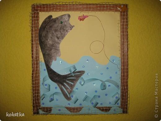 Так как у меня папа рыбак, эта картина эму очень понравилась. Идею  я нашла где-то в интернете, только немножко приукрасила. фото 1