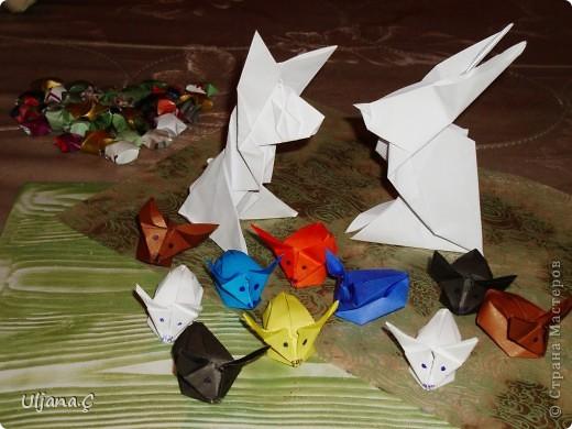 в технике Оригами Кот заяц