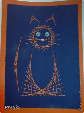 """Вот такая милая кошечка у нас получилась...Сделали на школьную выставку по теме """"Мой любимый домашний питомец""""."""