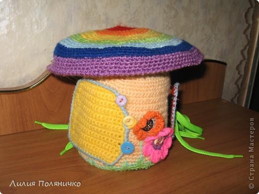 Вот такой грибочек связался дочке в дет-сад по МК http://darnika.ru/info/ Дверь на пуговках, фото 1