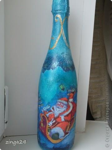 Новогодняя бутылка, изготовленная в технике декупаж.  фото 1