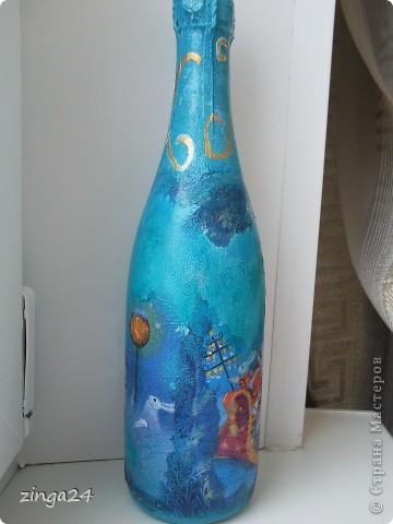 Новогодняя бутылка, изготовленная в технике декупаж.  фото 2