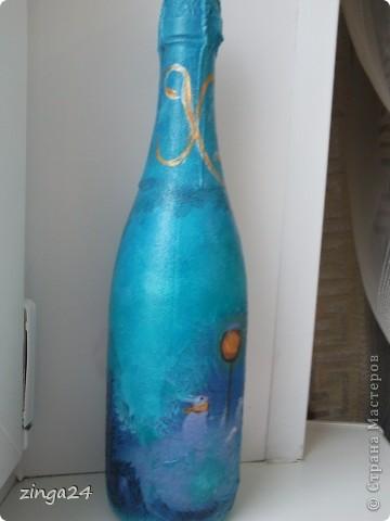 Новогодняя бутылка, изготовленная в технике декупаж.  фото 3