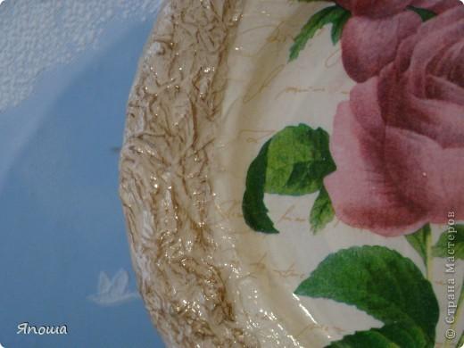 тарелка Сальвадор Дали (спасибо Любовь Вологда за салфетку). Обратный декупаж, сложный фон акриловыми красками, салфетка, лак фото 5