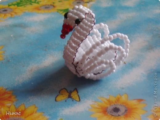 Лебедь на пруду Бисер фото