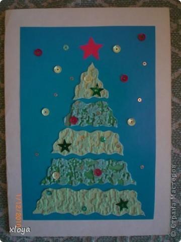 Эту открытку  я придумала сама из обрезков ткани. фото 4