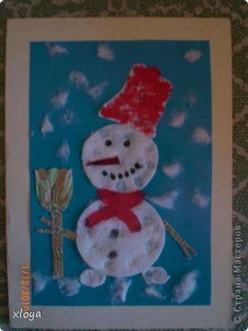 Эту открытку  я придумала сама из обрезков ткани. фото 7