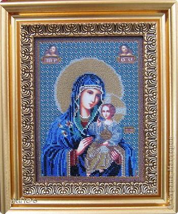 Икона Казанской Пресвятой Богородицы, вышивание бисером фото 2