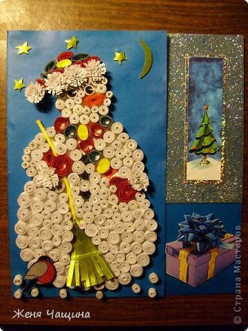 Еще одна открыточка со снеговиком к Новому Году  фото 3
