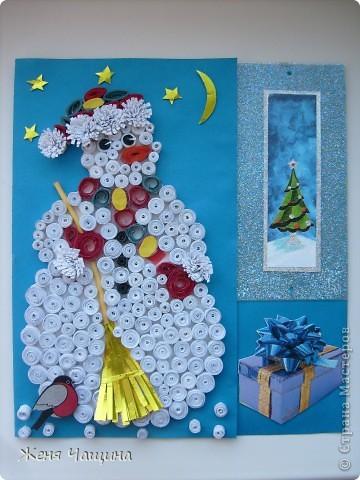 Еще одна открыточка со снеговиком к Новому Году  фото 1