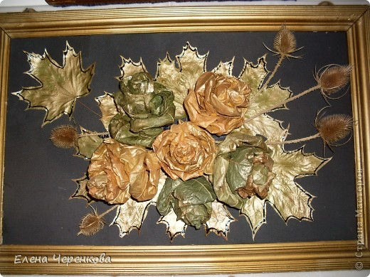 Розы из листьев клёна. Самый доступный материал для творчества.  фото 1