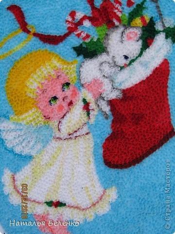 Здравствуйте уважаемые жители Страны Мастеров! Представляю на ваш суд очередную новогодне-рождественскую торцовочку. Размер работы 20*30 см. фото 2