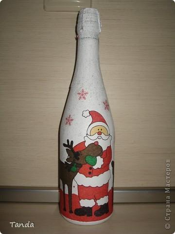 Моя первая бутылка. Спасибо всем кто делал МК по декупажу, все прочитала, все учла и вот результат.  фото 1