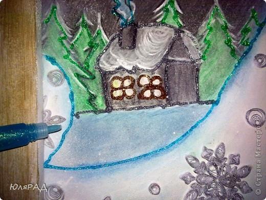 """В школе дали задание на тему снежинок из бумаги. Вот какая картина у нас с доченькой получилась. """"МЕТЕЛЬ ЗА ОКНОМ"""" фото 11"""