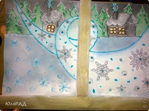 """В школе дали задание на тему снежинок из бумаги. Вот какая картина у нас с доченькой получилась. """"МЕТЕЛЬ ЗА ОКНОМ"""" фото 12"""