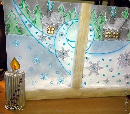 """В школе дали задание на тему снежинок из бумаги. Вот какая картина у нас с доченькой получилась. """"МЕТЕЛЬ ЗА ОКНОМ"""" фото 15"""