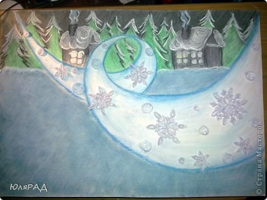 """В школе дали задание на тему снежинок из бумаги. Вот какая картина у нас с доченькой получилась. """"МЕТЕЛЬ ЗА ОКНОМ"""" фото 7"""
