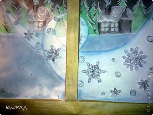 """В школе дали задание на тему снежинок из бумаги. Вот какая картина у нас с доченькой получилась. """"МЕТЕЛЬ ЗА ОКНОМ"""" фото 9"""