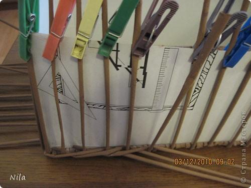 """Попытаюсь выложить фото, как я делаю коробки от А до Я. Все это я нашла на просторах интеренета. Где именно , перечислить не могу- и здесь, и в Ручной работе , и на чешских, польских сайтах. (Всем большое спасибо!) Где-то , как делать дно, где-то бортики, плетение, крышку . Единственно мое -пункт 18 -две трубочки на углах (пока не встречала в интеренете,или не заметила, там делают в углах одну трубочку), но не претендую на авторство, возможно еще найду подобное, ведь дальше  в поиске. В общем с мира по нитке..., а мне коробочка Сделала из картона такой """"станок"""". (Нашла в интеренете) Дырочки на расстоянии 2.5 см. Слева оставила длину трубочек на борт ,плюс на загибку.  фото 22"""