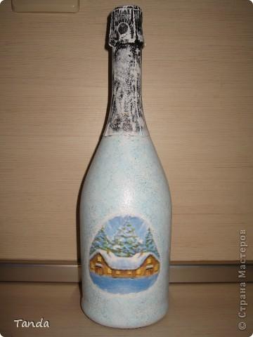 Новогодняя бутылка с Сантой и белочкой фото 2