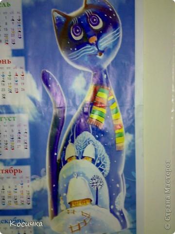 """Вот  такую кошечку я увидела в газете. Это календарь на 2011 год. И """"заболела"""" ею. Решила слепить ее.  фото 1"""