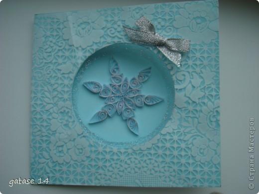 Вот такая новогодняя открыточка со снежинкой у меня получилась!!! фото 1