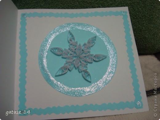 Вот такая новогодняя открыточка со снежинкой у меня получилась!!! фото 2